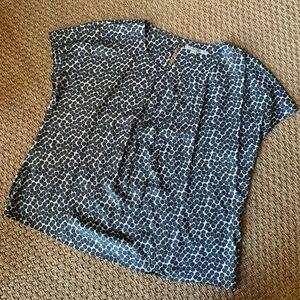 Boden Silk Blend Gray Dot Print Blouse